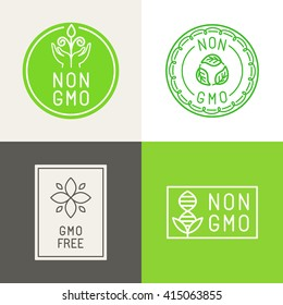 Vector set of design elements and badges for food and cosmetics packaging - non gmo and gmo free - natural ingredients labels and emblems
