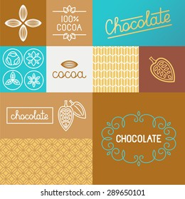 Vector set of design elements for chocolate and cocoa packaging and wrapping paper - set of icons , ornaments and hand-lettering related to sweet chocolate