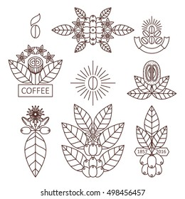 Vector set of design elements for coffee houses and shops coffee