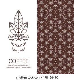 Vector set of design elements with coffee seamless pattern and logo