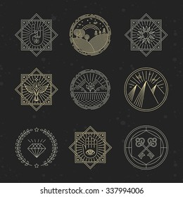 Vector set of design elements, emblems and logo design templates - concepts related to tattoo, magic, alchemy in trendy linear style on black background