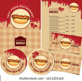 Vector set of design elements for fast food restaurant. Menu, business cards, and drink stands with hot dogs, ketchup drops, and inscriptions on the background of checkered tablecloth. Hot dog menu