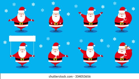 Vector set design elements funny and cute Santa Claus different character isolated on blue background