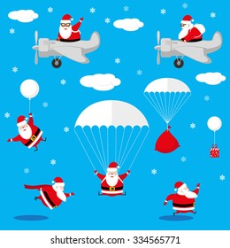 Vector set design elements funny and cute Santa Claus different character as pilot, runner, skydiver isolated on blue background