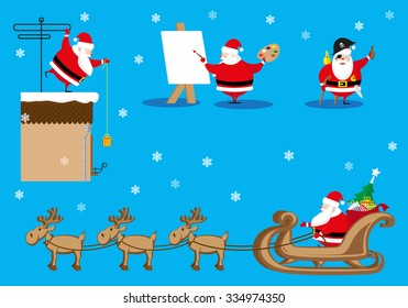 Vector set design elements funny and cute Santa Claus different character as painter, pirate, giver isolated on blue background
