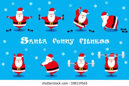 Vector set design elements funny Santa Claus different character does morning exercises with dumbbells and barbell isolated on blue background