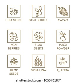 Vector set of design elements and icons for food and smotthie packaging - superfood badges - goji and acai berries, flax and chia seeds, quinoa and spirulina