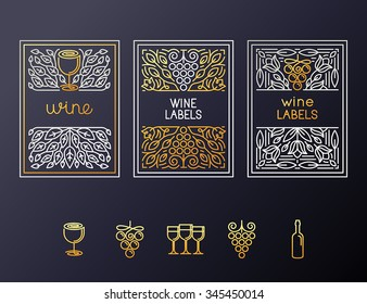 Vector set of design elements and icons for wine packaging and labels - icons and frames with copy space for text
