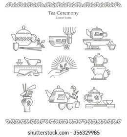 Vector set of design elements. Icons and badges in the trendy linear style. The Chinese and Japanese tea facilities. Tea ceremony, teapots, teacups and other elements in flat style.