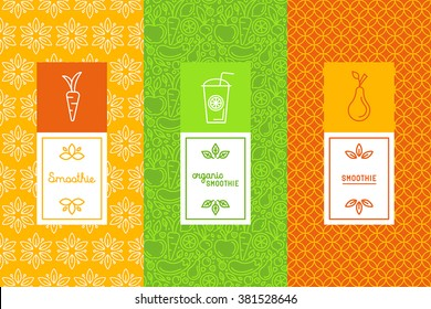 Vector set of design elements, icons and hand-lettering in trendy linear style - logo design templates and concepts for packaging and labels for fresh juices, diet smoothie and healthy food