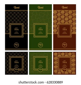 Vector set of design elements and icons in trendy linear style for tea package - mixed, black and green tea.