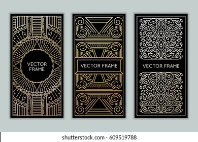 Vector set of design elements, labels and frames for packaging for luxury products in trendy linear style - simple and bright background made with golden foil on black background with copy space