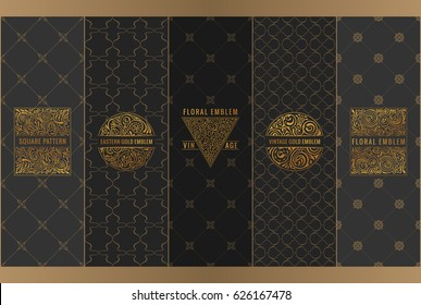 Vector set of design elements labels, icon, logo, frame, luxury packaging for the product. Vertical gold cards on a black background. Templates vintage ornament