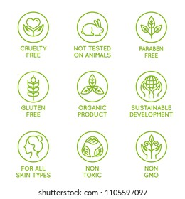 Vector set of design elements, logo design template, icons and badges for natural and organic cosmetics in trendy linear style - cruelty free, not tested on animals, paraben free, gluten free