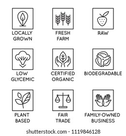 Vector set of design elements, logo design template, icons and badges for natural and organic cosmetics and products  in trendy linear style - locally grown, fresh farm, raw, low glycemic