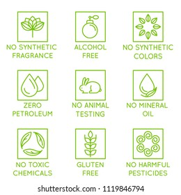 Vector set of design elements, logo design template, icons and badges for natural and organic cosmetics in trendy linear style - no synthetic fragrance and colors, no animal testing, non toxic