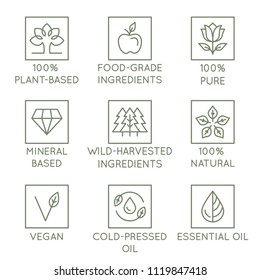 Vector set of design elements, logo design template, icons and badges for natural and organic cosmetics in trendy linear style - plant-based, food-grade and wild harvested ingredients, pure, vegan