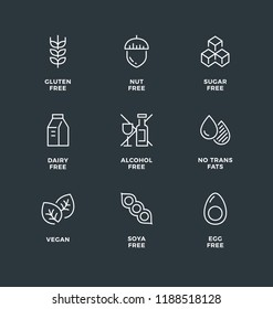 Vector set of design elements, logo design template, icons and badges for healthy food packaging without allergens. Black and white, line icon set, editable stroke.