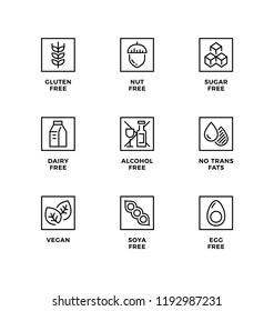 Vector set of design elements, logo design template, icons and badges for healthy food packaging without allergens. Line icon set, editable stroke.