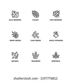 Vector set of design elements, logo design template, icons and badges for healthy food, superfood. Line icon set, editable stroke.
