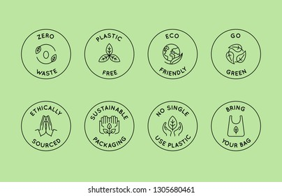 Vector set of design elements, logo design templates, icons and badges in trendy linear style - zero waste and plastic free concepts for stores with no packaging and natural and ecological products