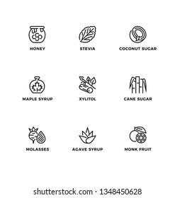 Vector set of design elements, logo design template, icons and badges for sugar alternatives, healthy food, natural substitutes. Line icon set, editable stroke.