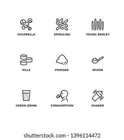 Vector set of design elements, logo design template, icons and badges for  superfood – chlorella, spirulina, young barley. Line icon set, editable stroke.