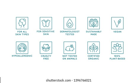 Vector set of design elements, logo design templates, icons and badges for natural and organic cosmetics in trendy linear style - cruelty free, not tested on animals, for all skin types, vegan