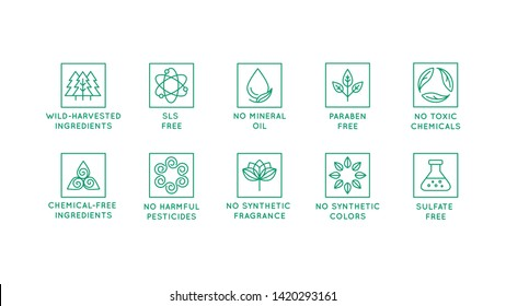 Vector set of design elements, logo design template, icons and badges for natural and organic cosmetics in trendy linear style - plant-based, food-grade and wild harvested ingredients, pure, mineral-b