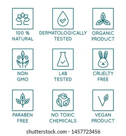Vector set of design elements, logo design templates, icons and badges for natural and organic cosmetics packaging in trendy linear style - 100% natural, dermatologically and lab tested, vegan and cru