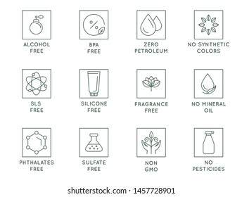 Vector set of design elements, logo design templates, icons and badges for natural and organic cosmetics packaging in trendy linear style - no bpa, alcohol, silicone, sls, sulfate ingredients