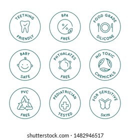 Vector set of design elements, logo design templates, icons and badges for natural and organic cosmetics in trendy linear style - safe for babies products - bpa free, pediatrician tested, food grade s