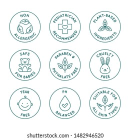 Vector set of design elements, logo design templates, icons and badges for natural and organic cosmetics and skincare for babies in trendy linear style - safe for newborns products -  pediatrician rec