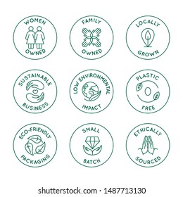 Vector set of design elements, logo design templates, icons and badges for natural and organic cosmetics and sustainably made products in trendy linear style - family or women owned business with low