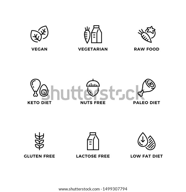 Vector set of design elements, logo design template, icons and badges for healthy diets. Line icon set, editable stroke.