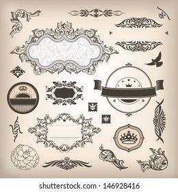 vector set of design elements and page decoration