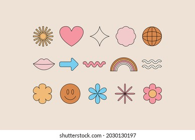 Vector set of design elements, patches and stickers with copy space for text - abstract background elements for branding, packaging, prints and social media posts