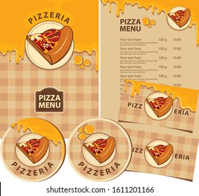 Vector set of design elements for a pizzeria. Menus, badges, business cards, and drink stands with a slice of pizza, melted cheese, and inscriptions on a checkered tablecloth background