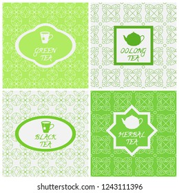 Vector set of design elements, seamless patterns and icons in trendy linear style. Oolong, herbal, black and green tea. Templates for packaging tea, logo, label, banner, poster, branding.