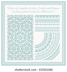 Vector set of design elements: seamless texture, borders, frames. EPS 10 vector includes pattern brushes for Illustrator. All frames are available under the clipping mask.