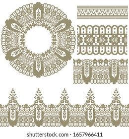 Vector set of design elements: seamless texture, borders, frames.vector includes pattern brushes for Illustrator.