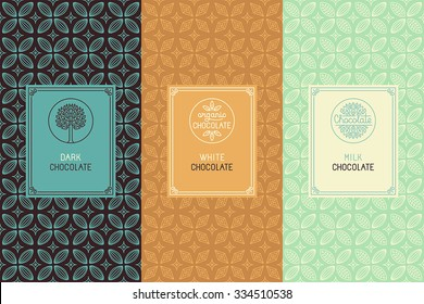 Vector set of design elements and seamless pattern for chocolate packaging - labels and background in  linear style - dark, white and milk chocolate