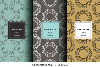 Vector set of design elements seamless pattern for chocolate and cocoa packaging - labels and background, wallpaper in trendy  linear style. Pattern for cafe, sweet-shop, pastry shop