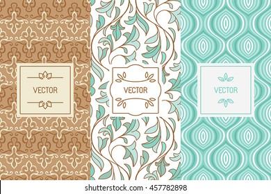 Vector set of design elements, seamless patterns and label templates for cosmetic and beauty product packaging or business card backgrounds, in trendy minimal linear style with floral ornaments