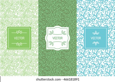 Vector set of design elements, seamless patterns and label templates for cosmetic and beauty product packaging, healthy and organic food , business card backgrounds with copy space for text