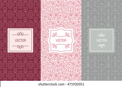 Vector set of design elements, seamless patterns and label templates for cosmetic and beauty product packaging or business card backgrounds with copy space for text, in trendy minimal linear style
