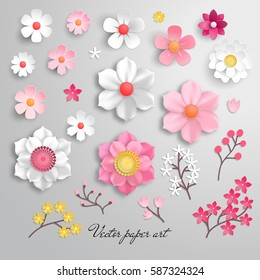 Vector set for design with flowers. Paper cut art.