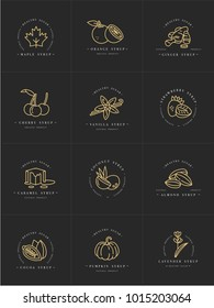 Vector set design golden templates logo and emblems - syrups and toppings. Food icon. Logos in trendy linear style isolated on white background