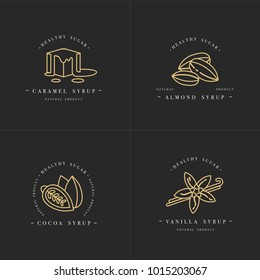 Vector set design golden templates logo and emblems - syrups and toppings-caramel, almond, cocoa, vanilla. Food icon. Logos in trendy linear style isolated on white background