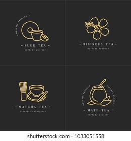 Vector set design golden templates logo and emblems - organic herbs and teas . Different teas icon-puer, hibiscus, mate and matcha. Logos in trendy linear style isolated on white background